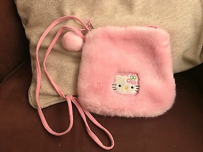 Girls PINK HELLO KITTY soft fluffy bag with strap and pompom detail