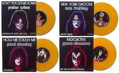 "KISS Set of 1978 French solo singles - 4 x 7"" vinyl singles - ORANGE WAX"
