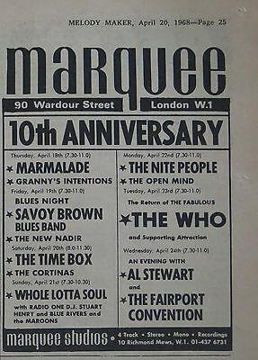 The Who at London's Marquee UK 10th anniversary ad 1968 + Bonus