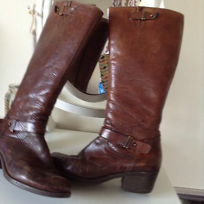 Clarks Tan Brown Leather Low Heel Knee High Riding Style Boots Size 5.5 UK