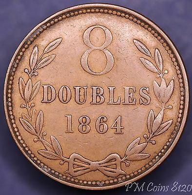 1864 Channel Islands Guernsey 8 Doubles, very nice coin [8120]