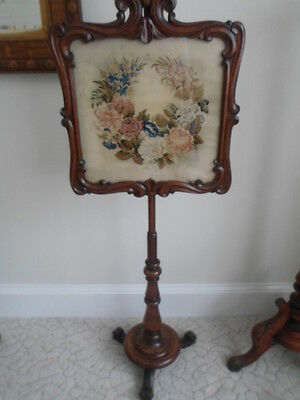 Antique Victorian Pole Screen. Tapestry Screen.rosewood?
