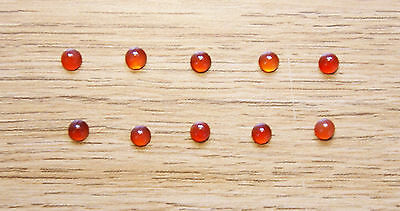 CARNELIAN STONES - 10 x NEW UNUSED 4mm Round Cabochon -  Jewellery Craft Hobby