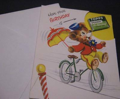 VINTAGE CHILDS BIRTHDAY CARD *  UNUSED w TOPPS SPEARMINT GUM * INCLUDED * NEAT