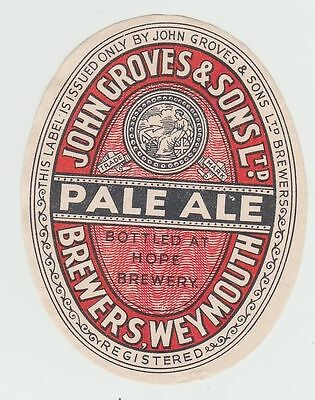 Beer Label: John Groves & Sons, Weymouth, Pale Ale 83mm tall