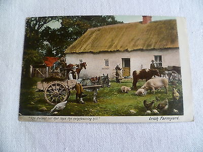 Irish Farmyard printed and painted vintage postcard - posted 1905