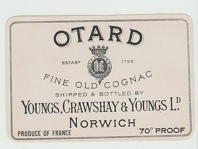Brewery Label: Young, Crawshay & Young, Norwich, Otard Fine Old Cognac Brandy