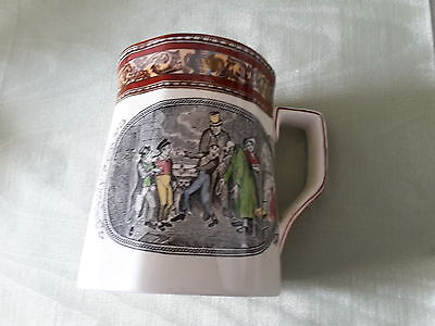 Adams ironstone mug depicting Oliver's reception by Fagin and the boys