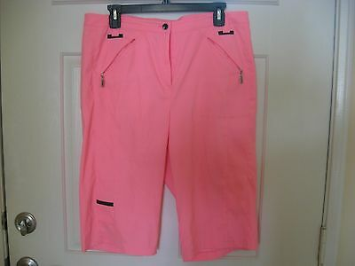 Jamie Sadock Golf Bermuda Cropped Shorts Size 12 Hot Pink New