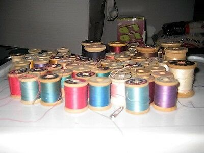 Lot of 61 Vintage SEWING THREAD ON WOODEN SPOOLS Variety of Colors/Brands