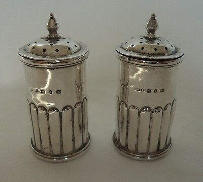 Pair Antique Victorian 1890 Sterling / Solid Silver Pepper / Salt Pots