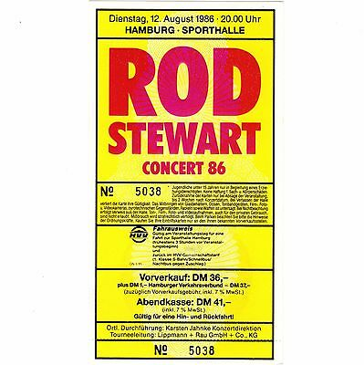 ROD STEWART Concert Ticket Stub HAMBURG GERMANY 8/12/86 SPORTHALLE THE FACES