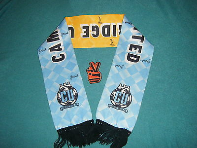 """Rare Old Cambridge United  Fc  Scarf &  Sew On  """" V Sign """" Badge , Must Be Seen"""