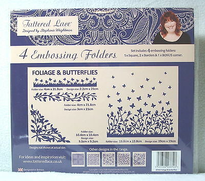 Tattered Lace Foliage & Butterflies Set of 4 Embossing Folders - NEW
