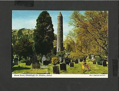 J Hinde Colour Postcard Round Tower & Grave Glendalough Wicklow Ireland unposted