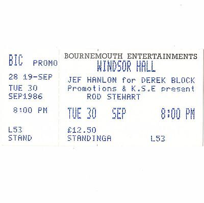 ROD STEWART Concert Ticket Stub BOURNEMOUTH UK 9/30/86 WINDSOR HALL THE FACES
