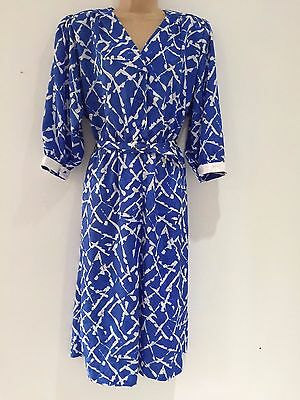 Vintage 80's Retro Blue & White Abstract Long Sleeve Secretary Midi Dress 14-16