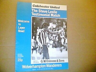 COLCHESTER UNITED v WOLVES LESLIE TESTIMONIAL WITH AUTOs 1980/1