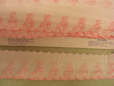 Broderie Anglaise Flat White/Pink Rabbits 10 mts