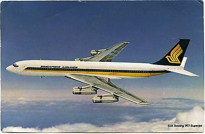 Singapore Airlines - Boeing 707 - Airline Issue Postcard