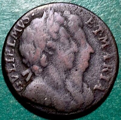 GB . King William & Mary . 1694 . Farthing . Nice Coin.