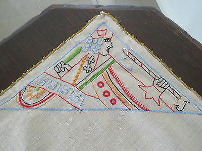 Vintage Embroidered Card Table - Table Cloth - Joker - King - Queen - Jack