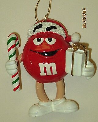 """M&M plain Christmas ornament red candy cane present 3.5"""" NEW"""