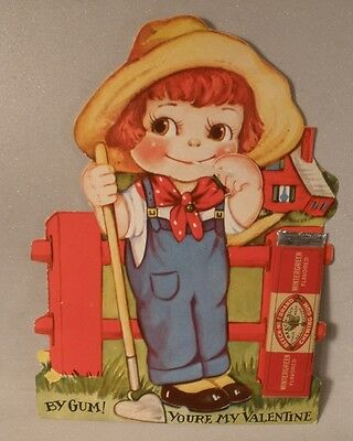 Mechanical Valentine with Attached Beech Nut Gum Stick