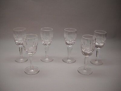 SET OF 6 Crystal Small CORDIAL Glasses with DIAMOND and LEAF  Pattern Round BASE