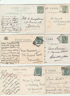 6 x EDWARDIAN POSTCARDS ALL POSTED PRE 1908 WITH SQUARED CIRCLE POSTMARKS.