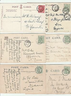 6 x EDWARDIAN POSTCARDS ALL POSTED PRE 1907 WITH SINGLE CIRCLE POSTMARKS.
