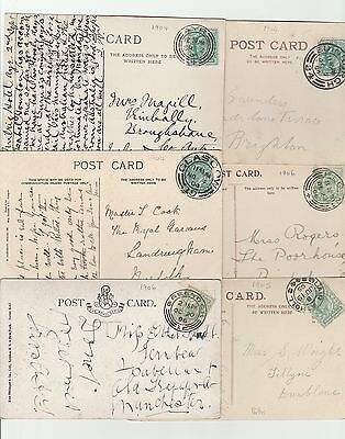 6 x EDWARDIAN POSTCARDS ALL POSTED PRE 1907 WITH DIFFERENT SCOTTISH POSTMARKS.