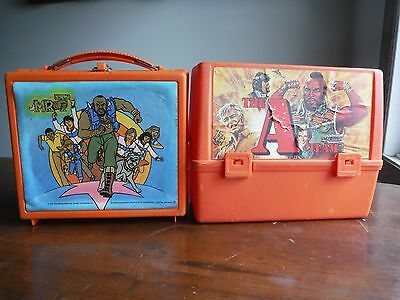 """Vintage 1983 - 1984  """"mr. T """" And The A- Team Lunch Box Both Plastic"""