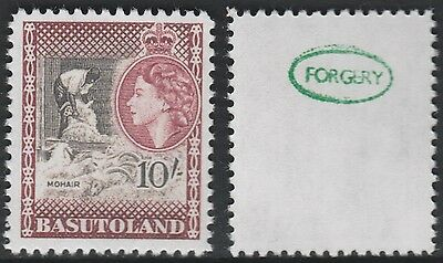Basutoland (884) 1954 QEII Shearing Goats 10s -  a Maryland FORGERY unused