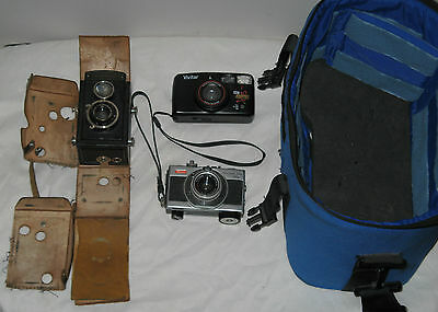 Vintage Camera lot Voigtländer Brillant Compur / Vivitar ZM5000 / RICOH HI-COLOR