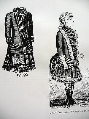 """1884 Delineator Pattern~Little Girls' Costume With Hat For 14""""-16"""" Child Doll"""
