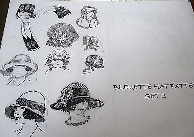 """Set Two ~ Hat Patterns For Bleuette Or 11"""" French Or German Dolls"""