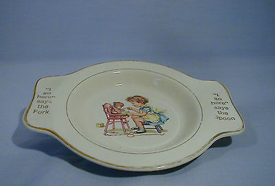 "INTERNATIONAL SILVER CO. CHILDS PLATE ""I GO HERE"" SPOON & FORK by Salem China Co"