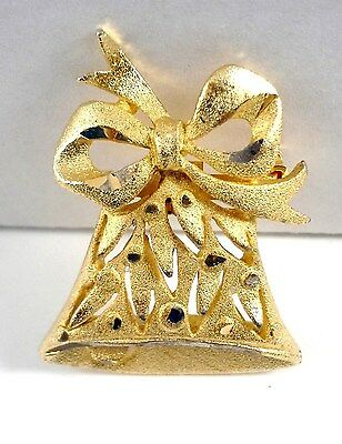 Brooch Gold Plated Brushed/Etched Christmas Bow and Bell 1.25 in x 1.5 in Used