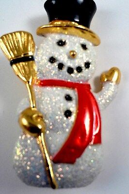 """Brooch Gold Plated Opal Color Snowman Black Hat/Red Scarf 1.75"""" x 1"""" x .25"""" Used"""