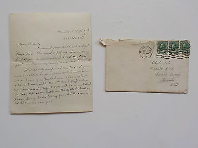 WW1 Letter 1917 Royal Canadian Air Force Father Killed 5th Royal Highlanders WWI