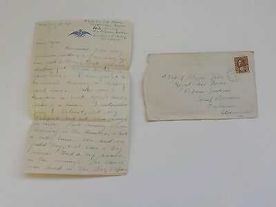 WWI Letter 1918 Royal Canadian Air Force 43rd Wing Seaside Camp Canada WW1 VTG N