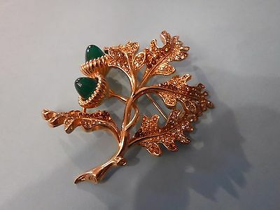 Vintage Boucher Brooch #9293 P Rhinestones & Green Glass Accents Gold-tone