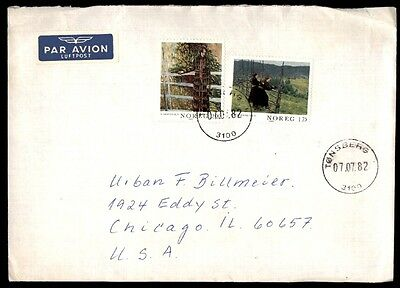 July 7, 1982 Norway Tonsberg Airmail Cover Chicago Illinois Usa