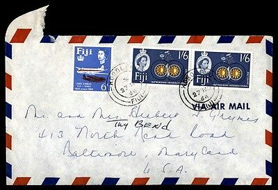 November 27, 1964 Fiji Multifranked Royalty Issue Cover To Baltimore