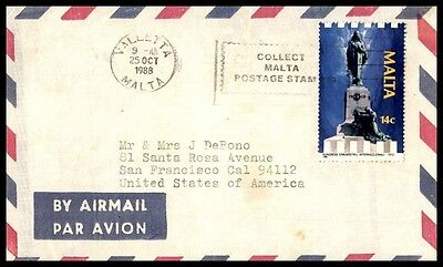 October 25Th 1988 Valletta Malta Cover 14 C Rate Cover To San Francisco