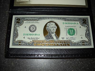 2003A-22K Gold Leaf $2 Two Dollar Bill,  Federal Reserve Note. Uncirculated!!!