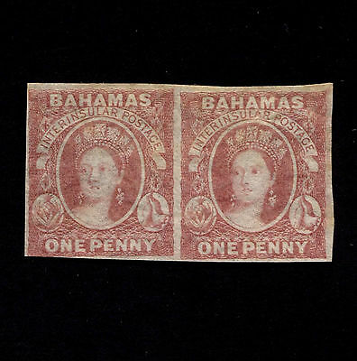 OPC 1860 Bahamas 1p Victoria Imperf Pair #1 Mint Hinged Rare Item