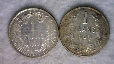 BELGIUM 1 FRANC 1909 + 1910 : TWO SILVER COINS (Stock# 0064)
