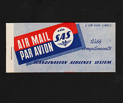 OPC 1950's SAS Air Mail Complete Booklet of 6 Labels MNH
